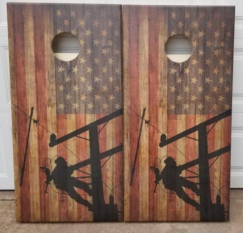 Flag - Lineman- Regulation size Cornhole Boards.