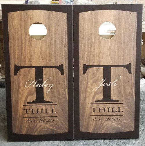 Family Design #9, Custom with your name-Regulation size cornhole boards.