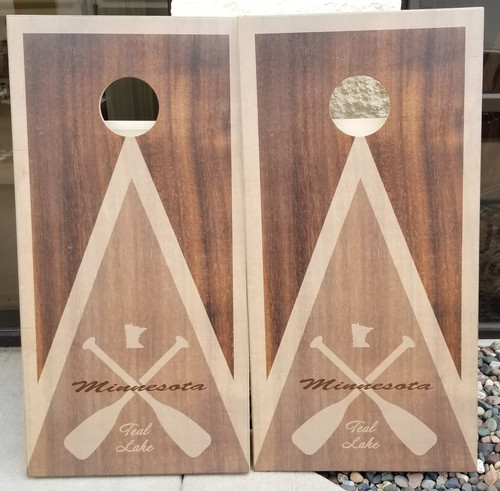 Family Paddle Design #5, custom with your lake and name- Regualtion size cornhole boards.