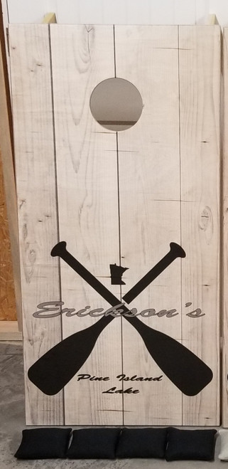 Family Paddle Design #6, custom with your lake and name- Regulation size cornhole boards.