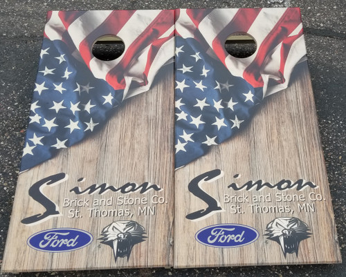 Your Business Design #16, custom with your business logo - Regulation size cornhole boards.