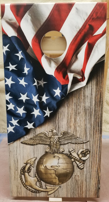 Military Marine/USA flag #2 - Regulation size cornhole boards.