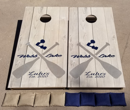 Family Paddle Design #7, custom with your lake and name- Regualtion size cornhole boards.