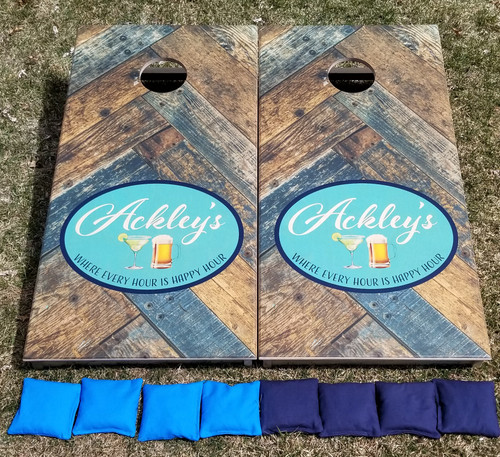 Family Design #20,  Custom with your initials-Regulation size cornhole boards.