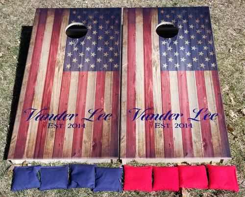 Flag with your name - Regulation size cornhole boards.
