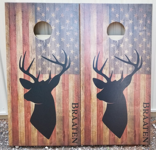 Flag-deer with your name - Regulation size cornhole boards.