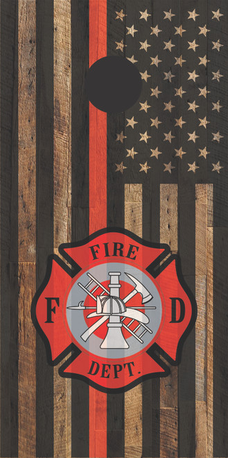 Flag -Thin Red Line #2, Firefighter  - Regulation size cornhole boards.
