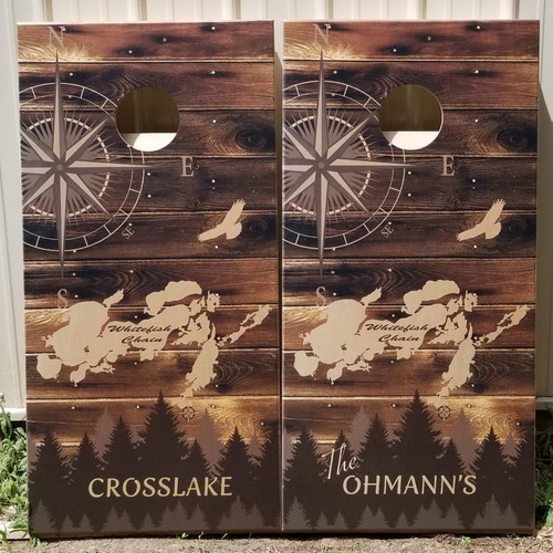 Compass Design #4 -Regulation size cornhole boards.