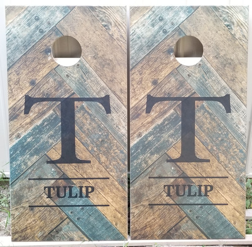 Family Design #27, Custom with your name -Regulation size cornhole boards.
