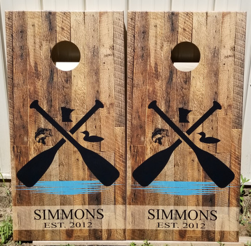Family Design #28 paddle, Custom with your name -Regulation size cornhole boards.
