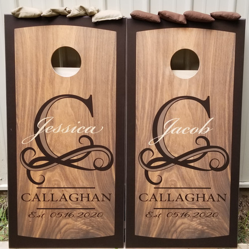 Family Design #29, Custom with your name -Regulation size cornhole boards.