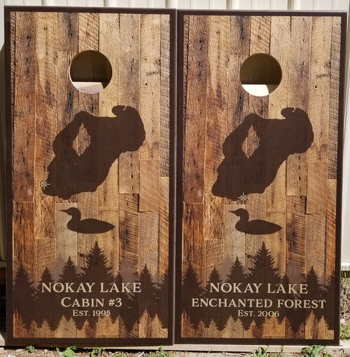 Family Design #30, custom with your lake, - Regulation size cornhole boards. Bags sold separately