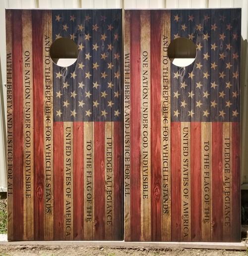 FLAG-Pledge of Allegiance - Regulation size cornhole boards. Bags sold separately