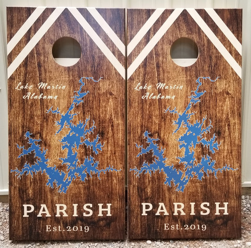 Family LAKE Design #33, Custom with your name and lake-Regulation size cornhole boards.