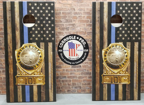 Thin  Blue Line Flag with badge #5, custom with your business logo - Regulation size cornhole boards.