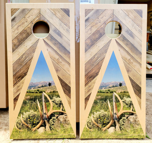 Family Design #23 Light colored wood, Custom with your picture -Regulation size cornhole boards.