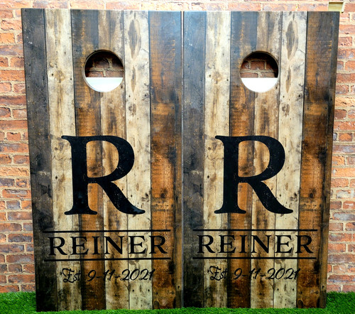Family Design #35, Custom with your name -Regulation size cornhole boards.