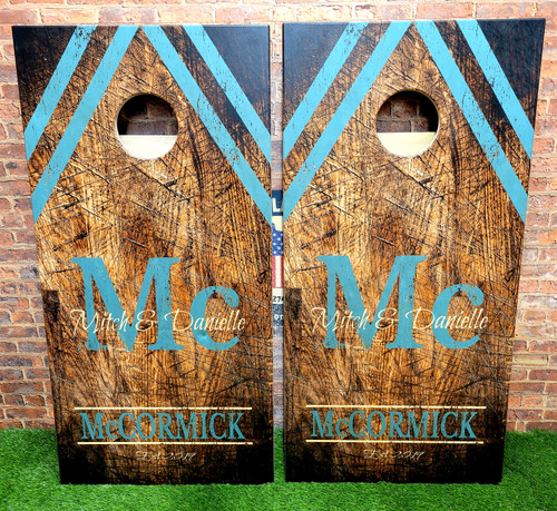 Family Design #36, Custom with your name -Regulation size cornhole boards.