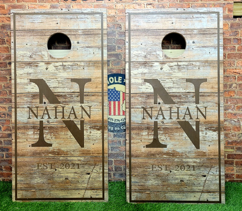 Family Design #37, Custom with your name -Regulation size cornhole boards.