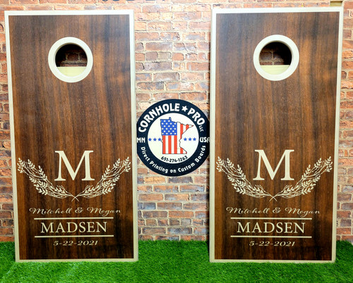 Family Design #38, Custom with your name -Regulation size cornhole boards.