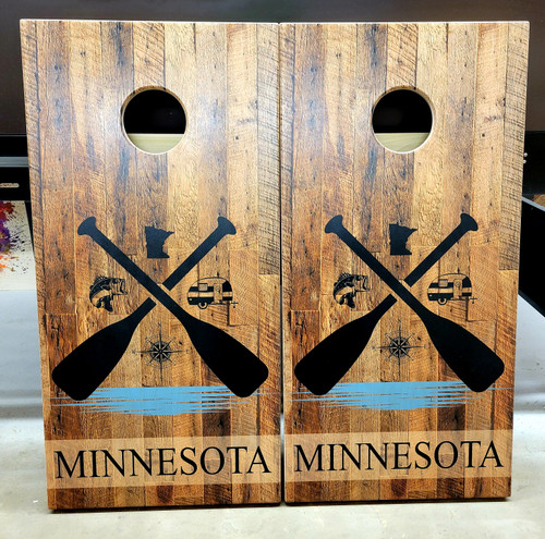 Paddle Design #9, custom with your state, and name- Regulation size cornhole boards.