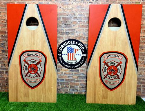 Fire Department , Firefighter Design #1 - Regulation size cornhole boards.