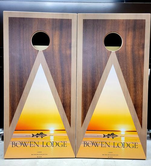 Business Design #31, custom with your business logo - Regulation size cornhole boards.