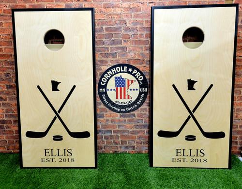 Family Design #39 Hockey Sticks, Custom with your name -Regulation size cornhole boards.