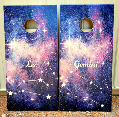 Family Design #40, custom with your ZODIAC SIGN -Regulation size cornhole boards.
