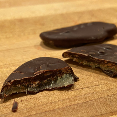 Chocolate covered ginger slices