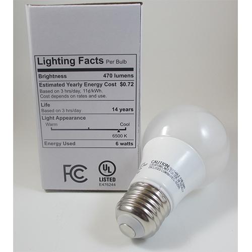 A19 LED Light Bulb, 6 Watt, 470 Lumens, 6500K