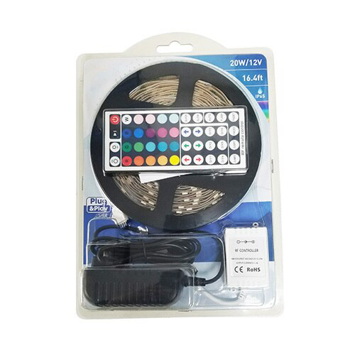 LED Strip Light Kit, 20 Watt, RGB
