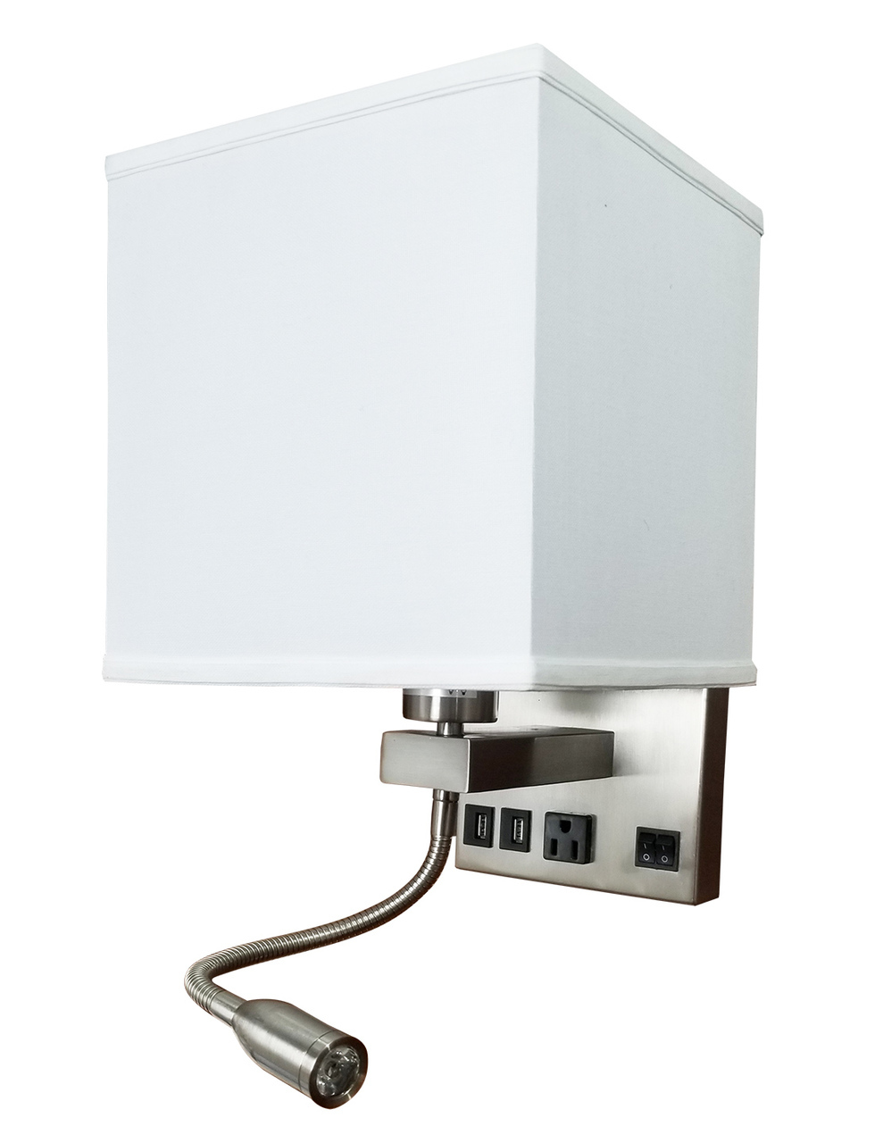 Led Wall Lamp Wl330 3w Adjustable Arm 2 Usb Ports 1 Standard Plug Outlet