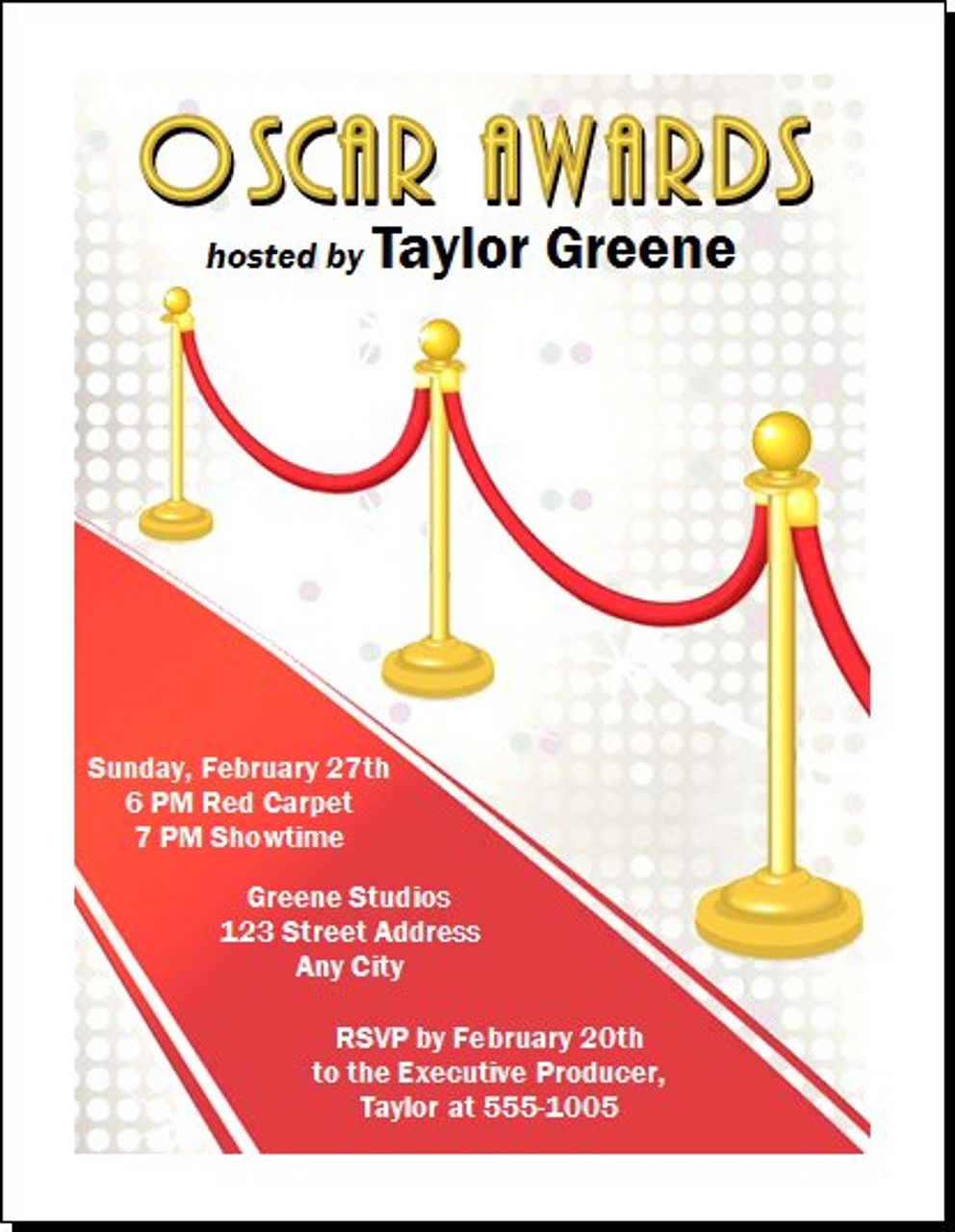 red carpet oscar awards party invitation