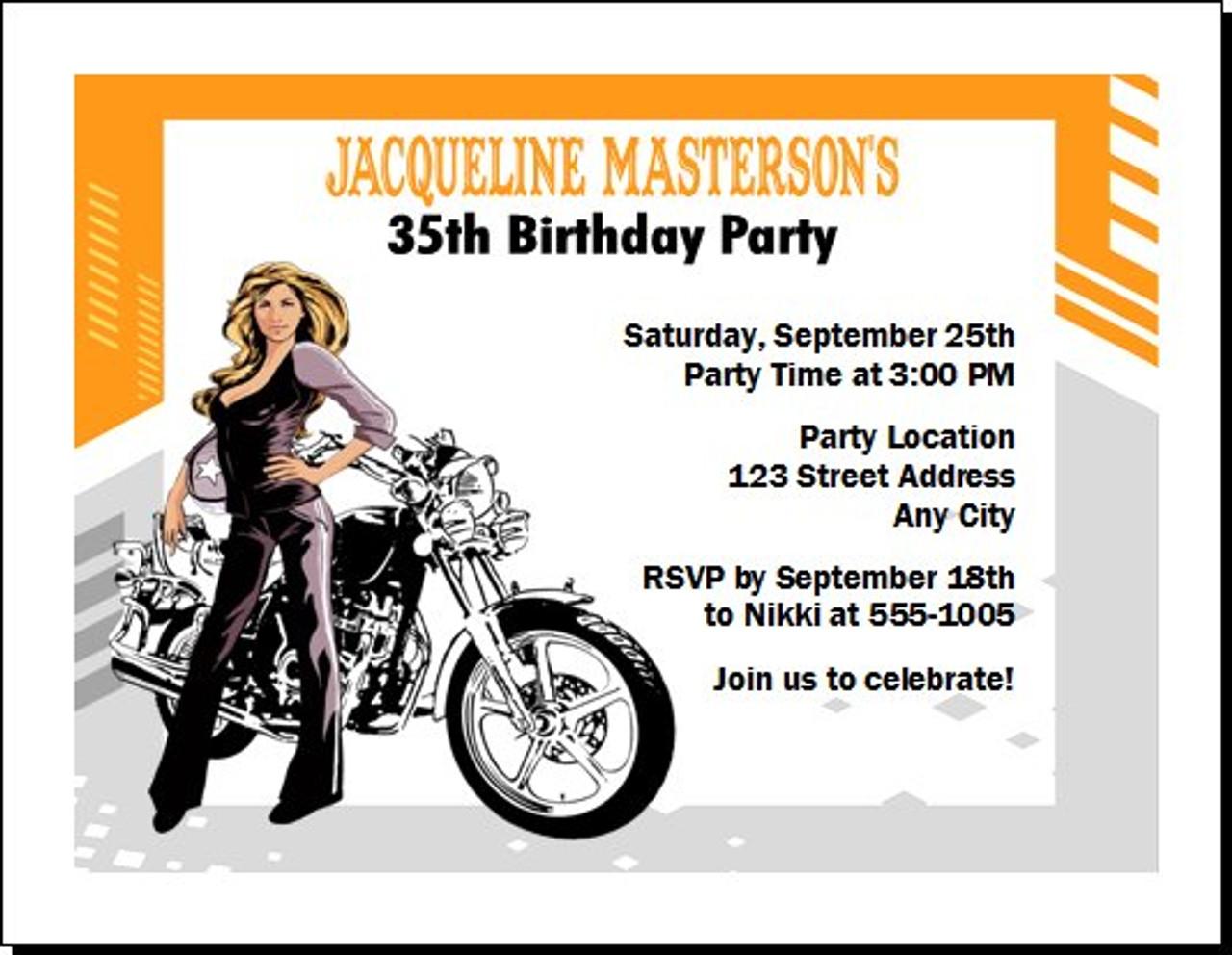Biker chick pics Biker Chick Birthday Party Invitation