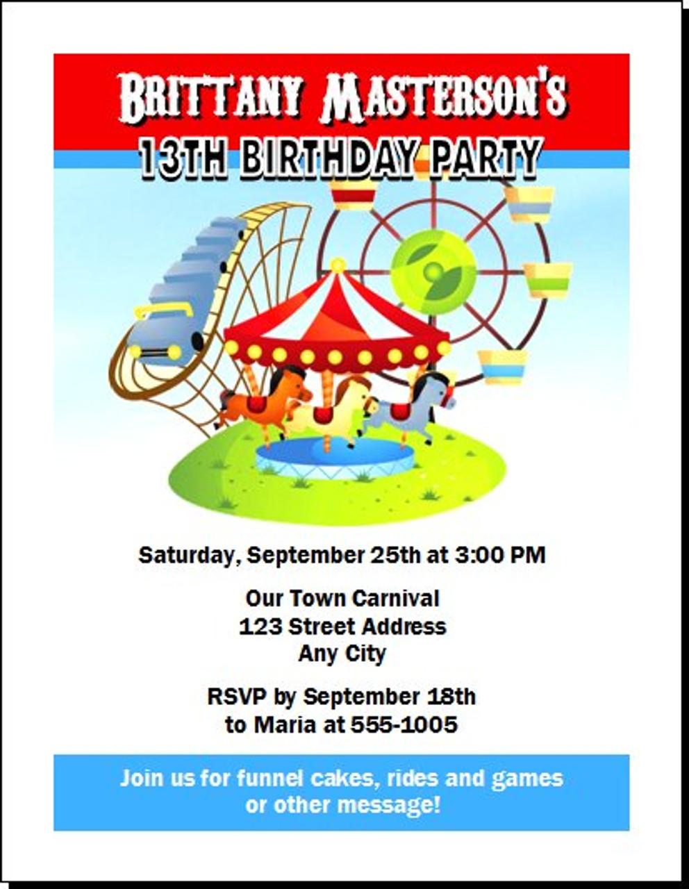 carnival birthday party invitation set of 12