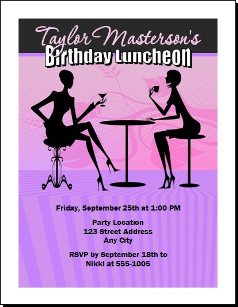 Ladies Who Lunch Birthday Party Invitation