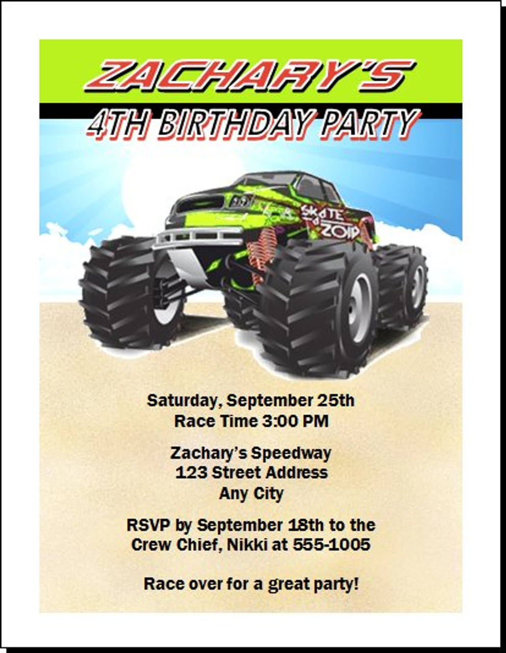 It's just a picture of Monster Truck Birthday Invitations Free Printable pertaining to 3 d