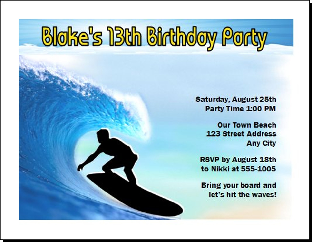 Surfer Birthday Party Invitation Set Of 12