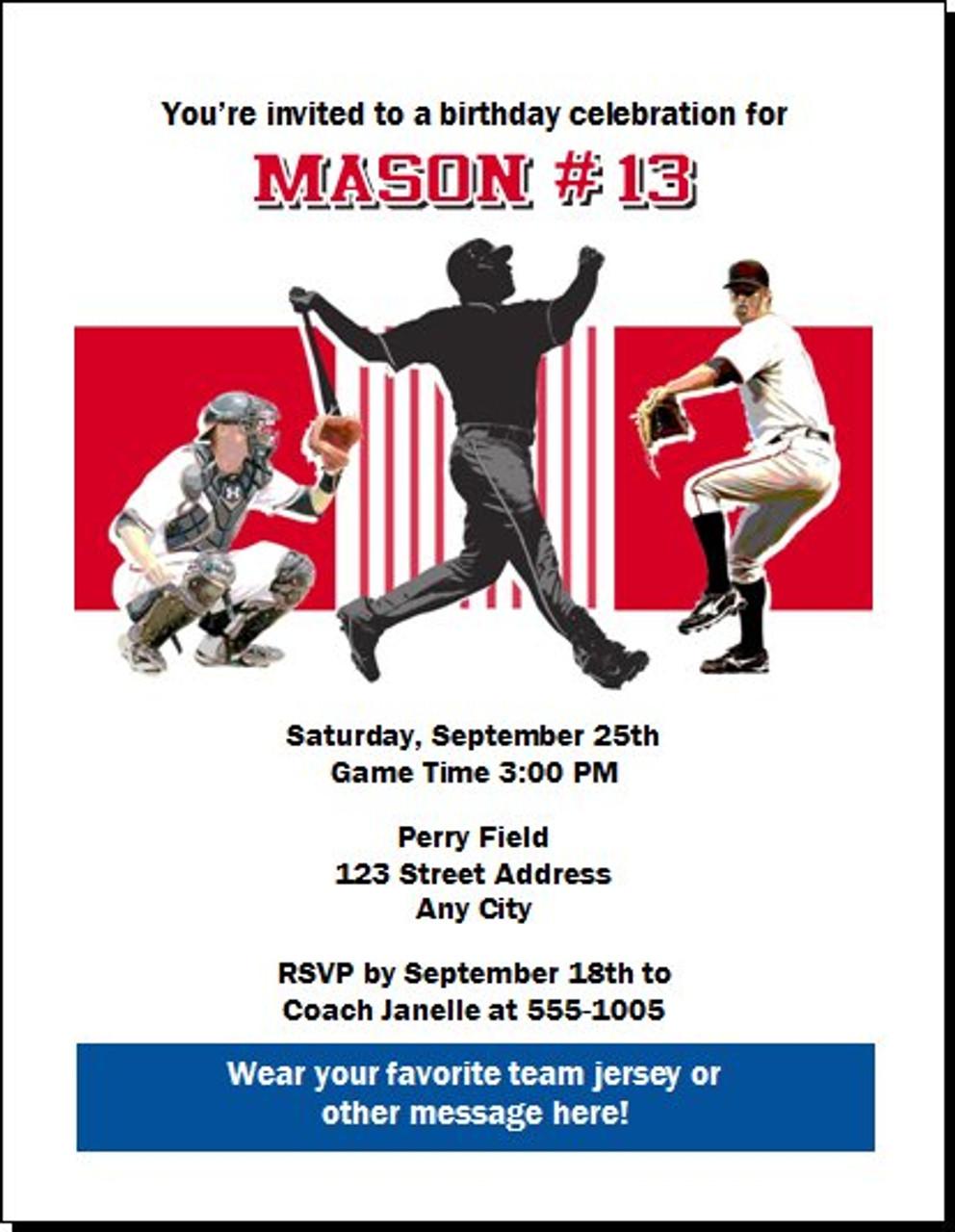 Philadelphia Phillies Colored Baseball Birthday Party Invitation Set Of 12