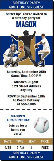Milwaukee Brewers Colored Baseball Birthday Party Ticket Invitation