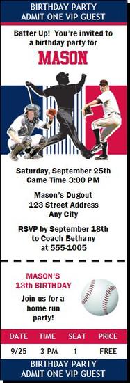 Minnesota Twins Colored Baseball Birthday Party Ticket Invitation