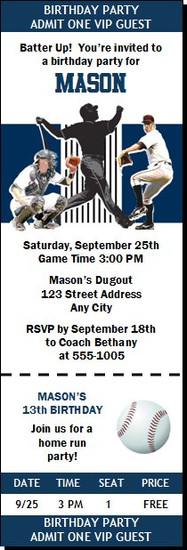 New York Yankees Colored Baseball Birthday Party Ticket Invitation