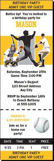 Pittsburgh Pirates Colored Baseball Birthday Party Ticket Invitation