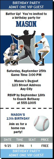 Tampa Bay Rays Colored Baseball Birthday Party Ticket Invitation