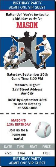 Texas Rangers Colored Baseball Birthday Party Ticket Invitation