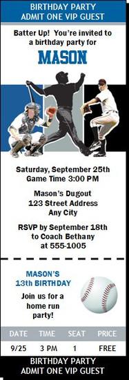 Toronto Blue Jays Colored Baseball Birthday Party Ticket Invitation