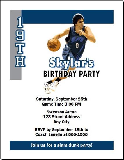 Minnesota Timberwolves Colored Basketball Party Invitation