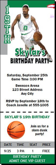 Boston Celtics Colored Basketball Party Ticket Invitation
