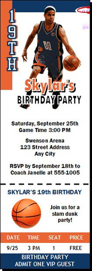 Charlotte Bobcats Colored Basketball Party Ticket Invitation